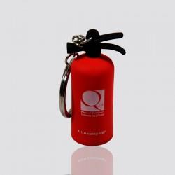 llavero promocional en forma de extintor de color rojo